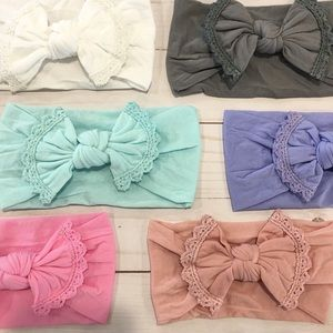 Other - Crochet Lace Trimmed Nylon Baby Headband